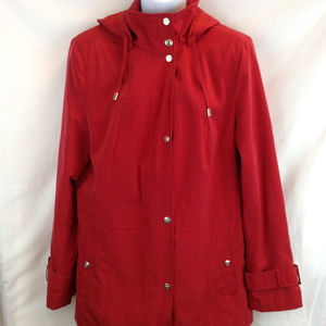 Utex Red Hooded Raincoat Lined Size M